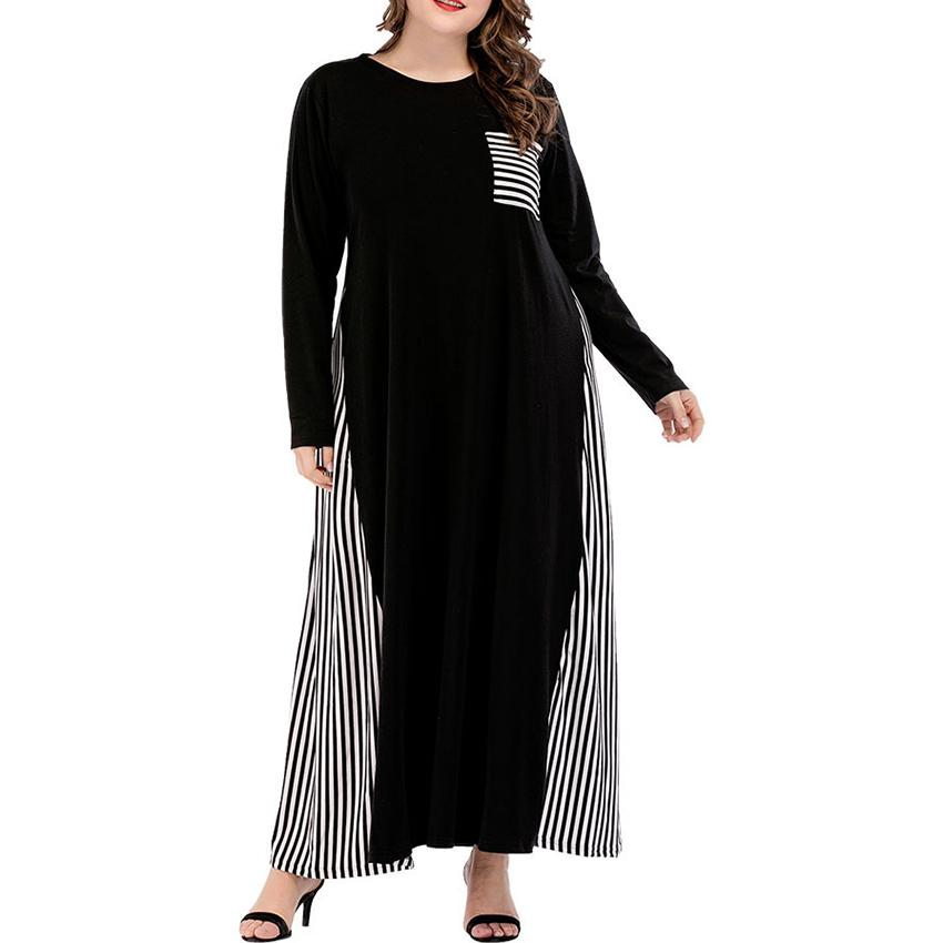 Plus Size Side Striped Dress Women Straight Long Sleeves 4XL Big Size Casual Women Bust Pocket Fashion Loose Robe Femme Clothes