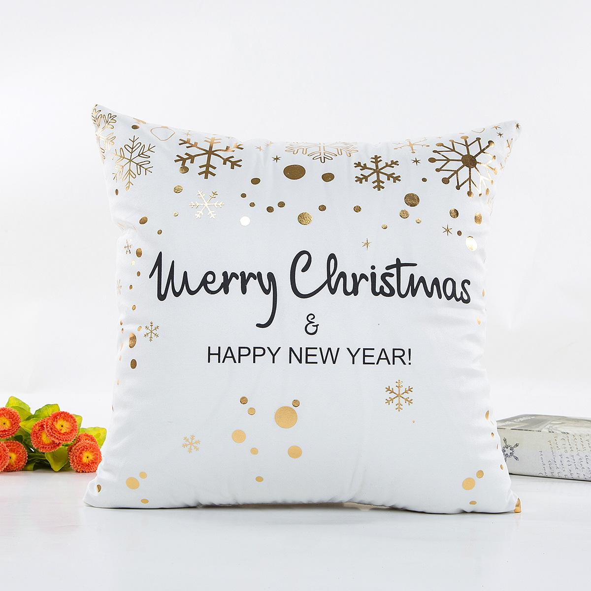 Bronzing happy merry Christmas Cushion Cover Gold Printed Pillow Cover Decorative Pillow Cases Sofa Pillowcase Soft gold decorations 45*45cm