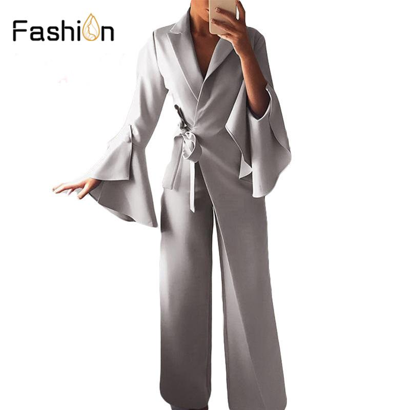 Women Waist Belted Jumpsuit Long Sleeve Rompers Wide Leg Pants Highstreet Ladies Autumn Elegant Workwear Jumpsuits Harajuku MX190726