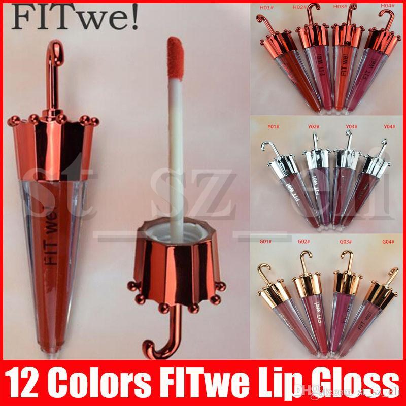 Trucco labbra Fit abbiamo ombrello forma opaco Liquid sexy del rossetto di moda di 12 colori Lip Gloss Lipgloss