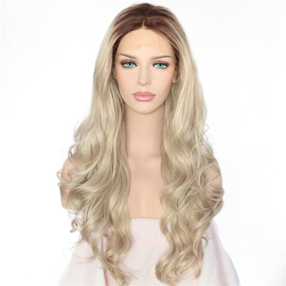 Hot Sexy Halloween Long Natural Ombre Dark Roots To Blonde Body Wave Atado a mano Resistente al calor Pelo Sintético Pelucas delanteras del cordón para mujeres