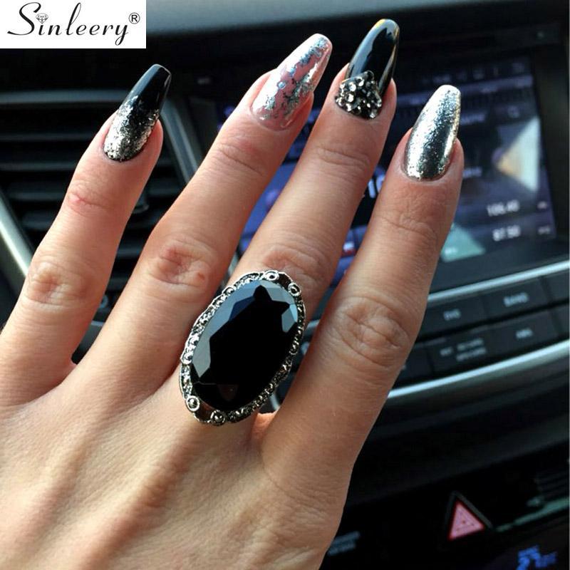 SINLEERY Vintage Big Black ovale Anneaux de pierre pour les femmes Taille 6 7 8 9 10 Antique couleur or Bijoux en argent Anel Jz516 SSC