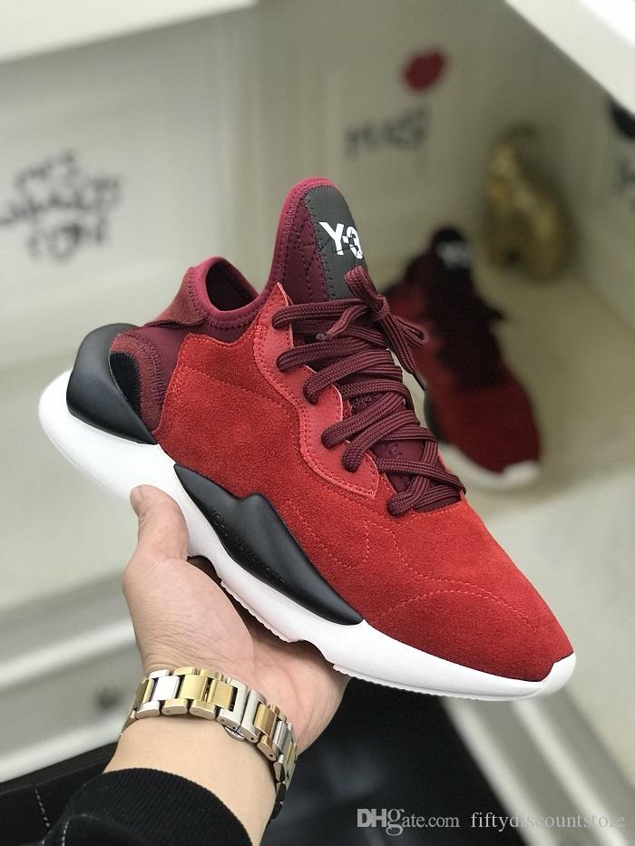 Venta al por mayor 2020 más nuevos GZFOG Y3 Kusari de los hombres de los zapatos corrientes zapatos de las mujeres Y3 rayas rojas los zapatos de moda casual con 36-45 Tamaño de la caja