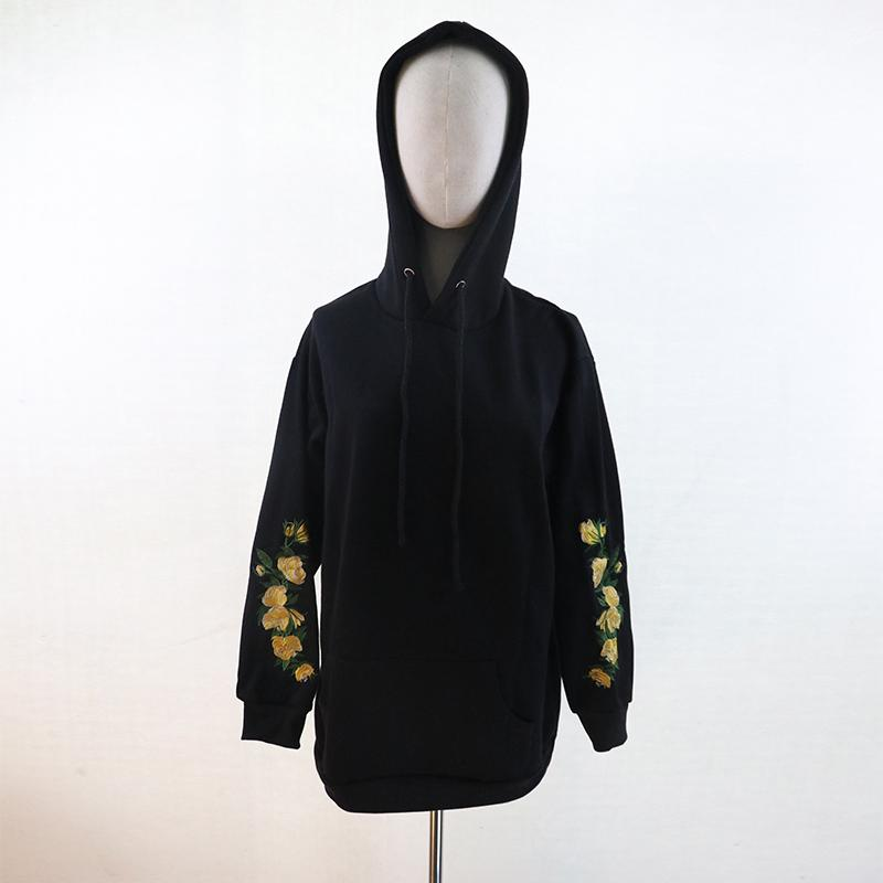 Hooeded Sweatshirt Women Elegant Floral Embroidery Long Sleeve Pullover High Quality Christmas Hoodies New Hot Fashion