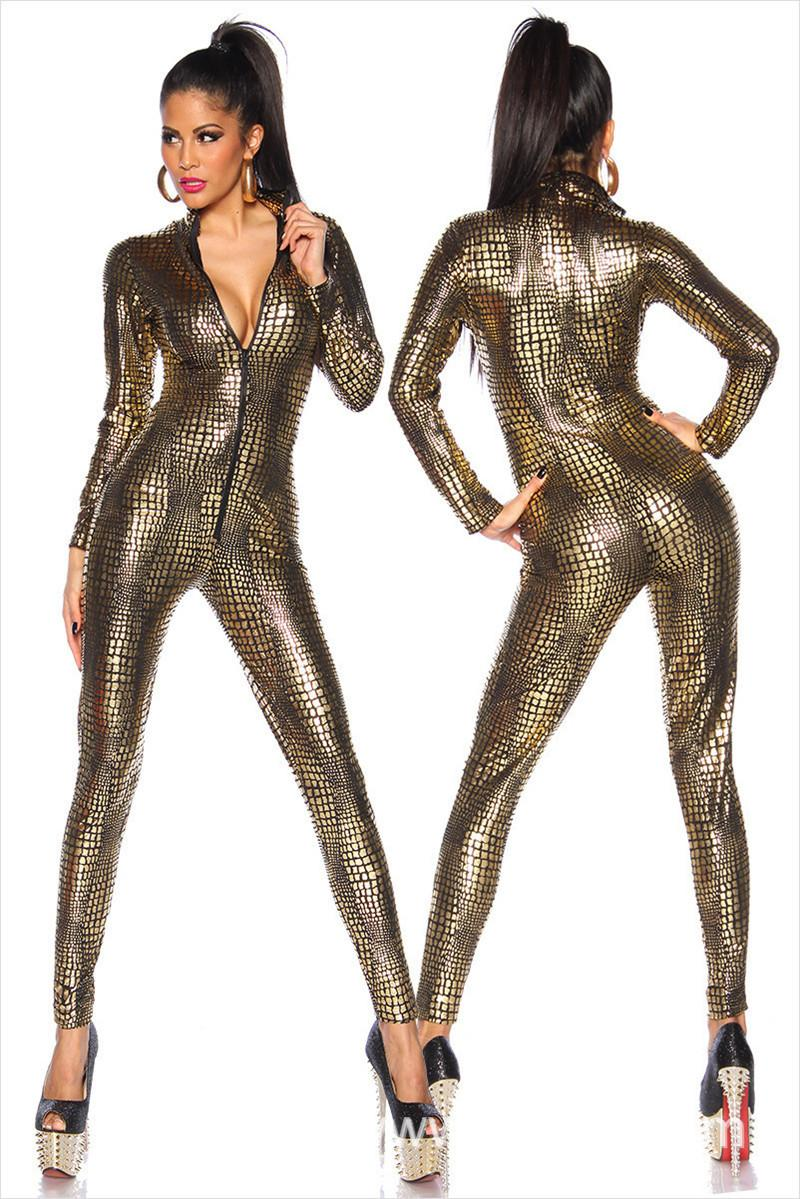 Costumi sexy bagnato nero sguardo Snake Tuta PVC Latex Catsuit Nightclub DS Donne Body Fetish brevetto uniformi del gioco in pelle T200528