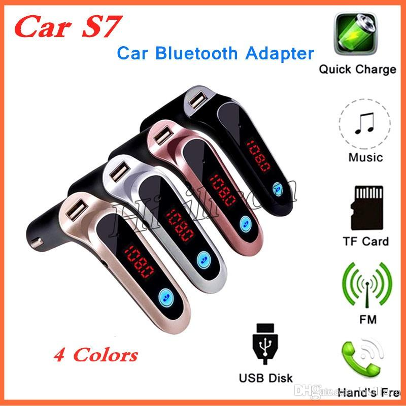 Самый дешевый автомобиль S7 Bluetooth адаптер FM-передатчик Bluetooth автомобильный комплект Hands Free FM-радио адаптер с USB-выходом автомобильное зарядное устройство + розничная коробка