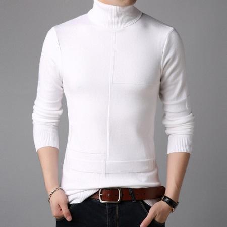 Hommes Pull à col roulé pull en tricot d'hiver Pull Homme Haut col roulé Plus Size Hommes Manteaux Noir Blanc Rouge M-3XL