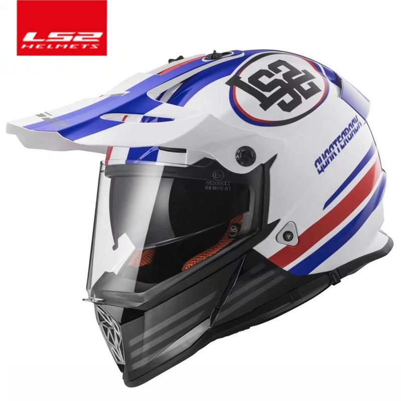 LS2 MX436 off road motorcycle helmet with sunshield Moto-Cross motocross helmet double lens racing moto ECE certification