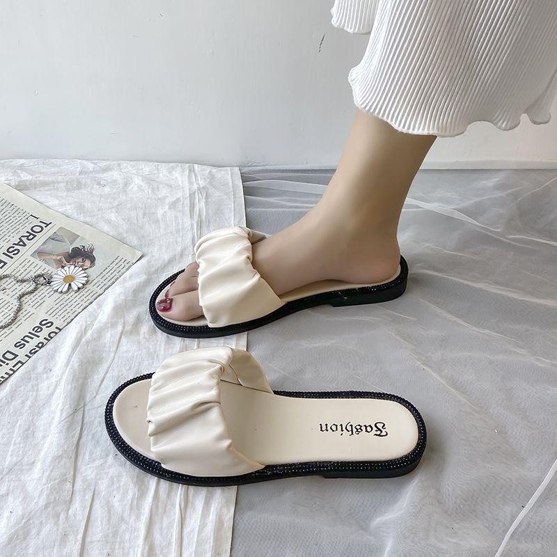 Pantoufles Femmes d'été de luxe Diapositives pantofle peu profondes plat Designer 2020 Mode PU caoutchouc Chaussures Femme de base de chaussons