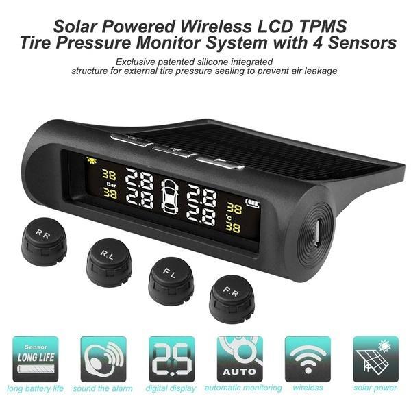 20PCS / 부지 태양 TPMS 자동차 타이어 압력 경보 모니터 시스템 4 휠 내부 외부 타이어 센서 온도 경고