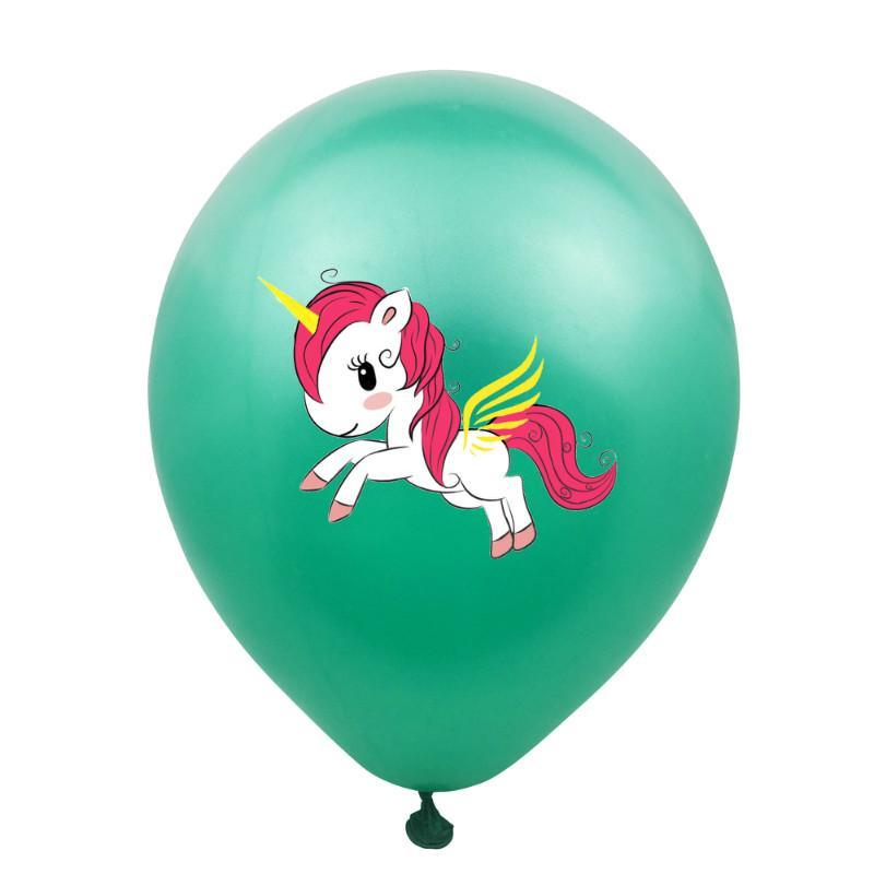 ZLJQ 50pcs multicolor unicórnio látex balões de casamento festa de natal decorações 12inches desenhos animados impresso balões de aniversário 7D