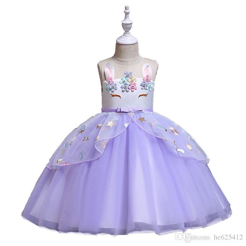 Vestido infantil 2019 novas meninas vestido princesa flor menina vestido de noiva unicórnio vestuário infantil por atacado vestidos de batismo