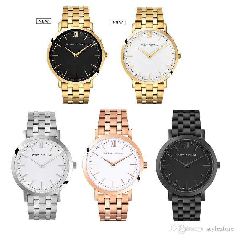 Luxusuhr Für Männer / Frauen larsson jennings Mode Lässig Quarzuhr Leder Uhr Reloj Hombre LJ Wasserdichte militärische uhr