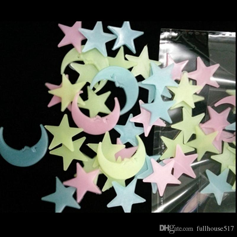 Home Wall Glow In The Dark Stars Stickers Moon And Star Stickers Wall Ceiling Decor Stick On Space Ceiling Decoration 3d 2 5cm Decals For The Home