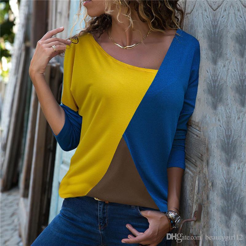 Autumn 2018 Women Long Sleeve T-Shirt Fashion Patchwork Color Block Shirt Cotton Casual Loose Tops Elegant Ladies Office T-Shirt