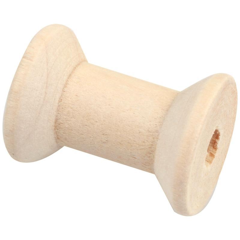 New 10pcs Wooden Empty Thread Spools Natural Color 29mm x23mmm