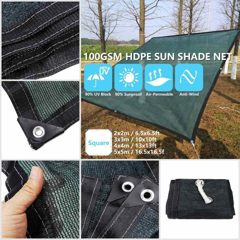 Sun Sonnensegel Grün HDPE Sonnenschutz Net Sun Shelter im Freien Garten-Sonnenschutz Shade Cloth Patio Abdeckung Anti-UV-Car-Cover 2/3/4/5 m