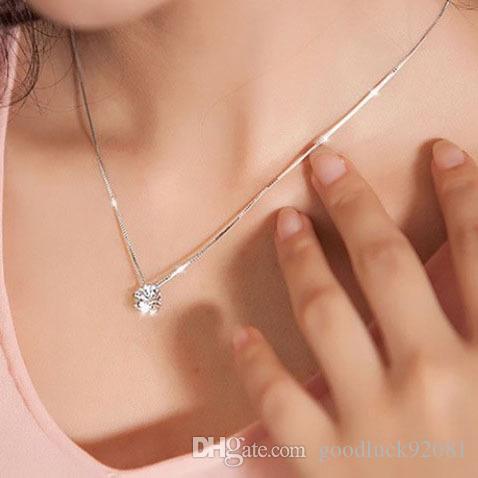 Подвеска Моды медных ювелирных изделий родий монокристалл Циркон ожерелье южнокорейских женщин