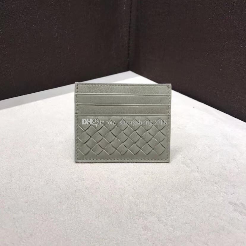 Son B0111, son Fransız Postu Deri Örgülü erkek ve kadınlar için katlayın Cüzdan tasarımcı Cüzdan Kart Sahibinin orijinal kutusu klasik f