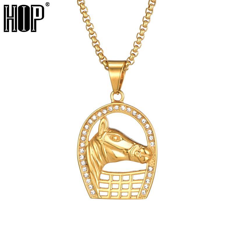 Hip Hop rock bijoux pleine strass bling Glacé tête de cheval Hommes Pendentifs Colliers Couleur Or Bijoux en acier inoxydable 316L