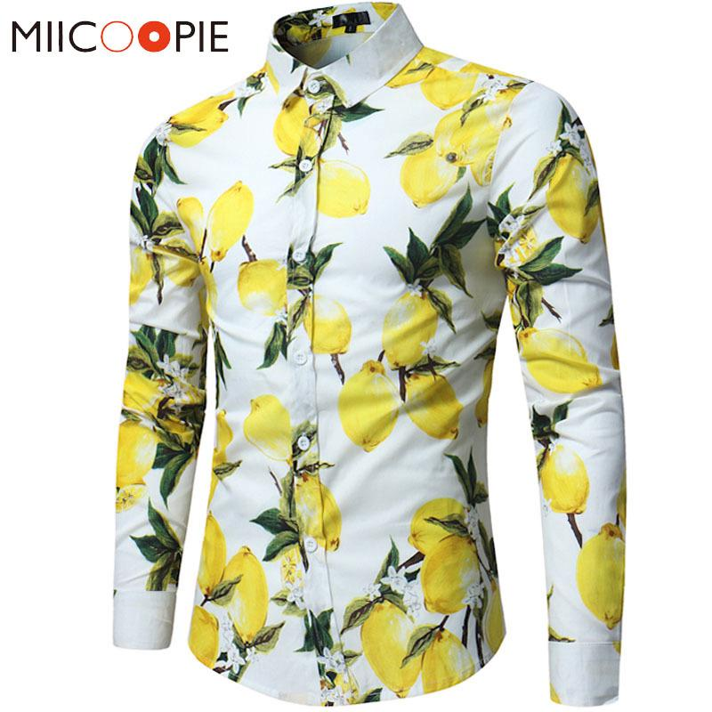 2019 브랜드 남성 하와이 셔츠 남성 캐주얼 레몬 인쇄 슬림핏 셔츠면 긴 소매 드레스 셔츠 Camisa Masculina S-XL LY191203