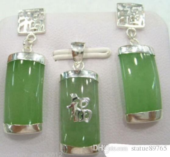 Jewelryr Jade Set Hot vente nouveau Style Naturel Lumière vert pierre 18KWGP Fortune Pendentif Boucles D'oreilles Collier Ensemble Livraison Gratuite