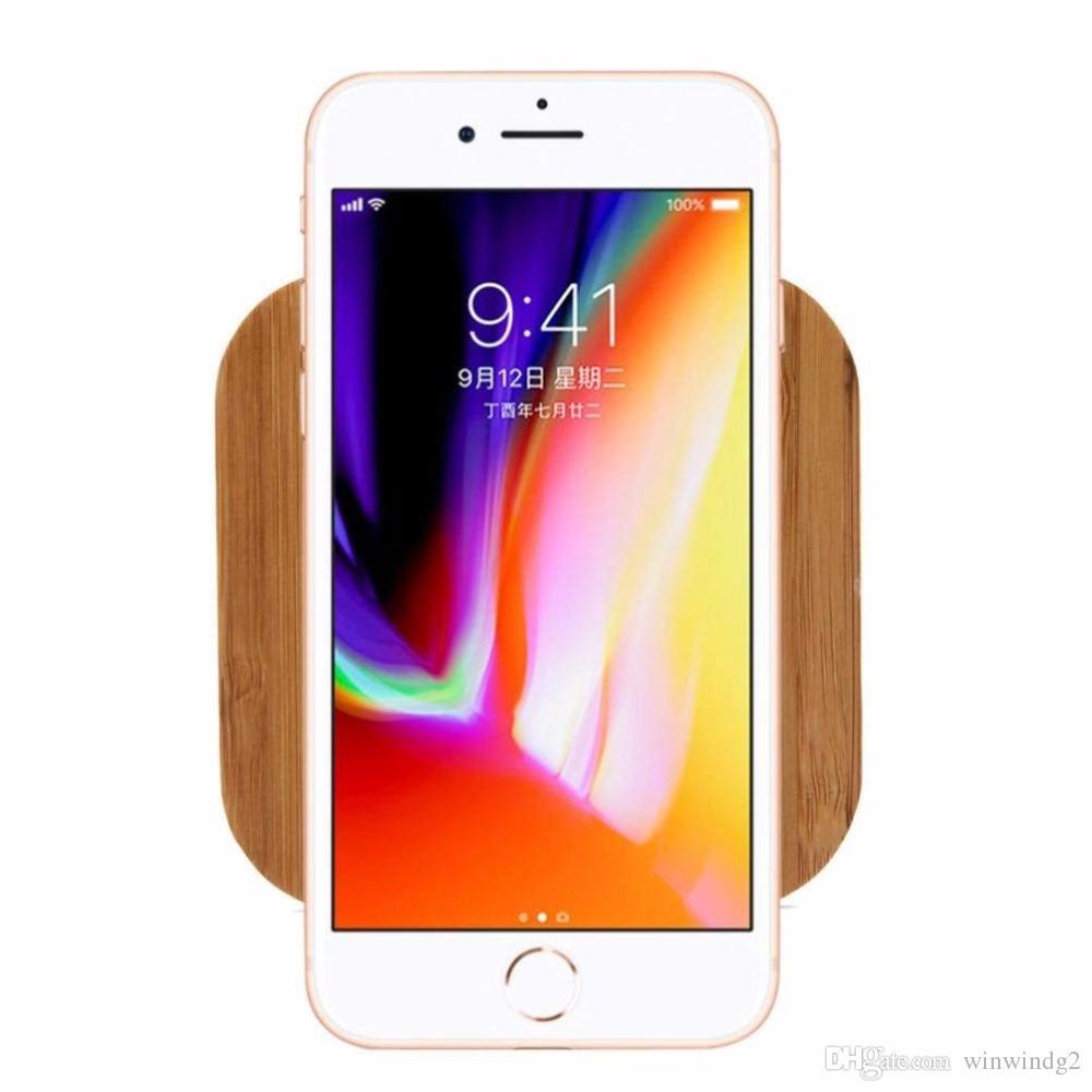 2019 새로운 스타일 자연 대나무 나무 무선 충전기 아이폰 8 8Plus X XS 최대 삼성 S8 S9 S10에 대 한