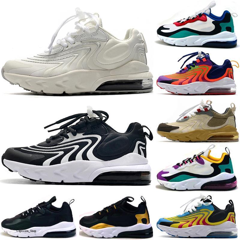 Nike air max 270 React 2020 React 2 Bauhaus II TD caçoa sapatas das meninas do menino Running Shoes Black White Hiper violeta brilhante da criança Crianças Sapatilhas 28-35