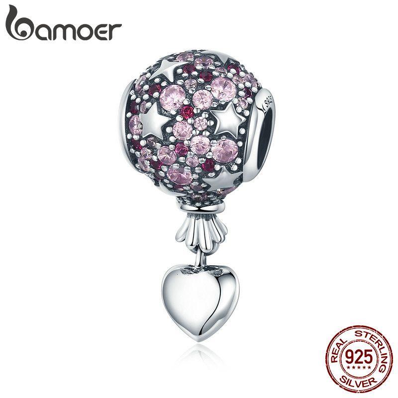 BAMOER auténtica plata de ley 925 Globo amor romántico pendiente del encanto del aire caliente se ajusta la joyería del encanto collar de la pulsera regalo SCC517 CJ191116