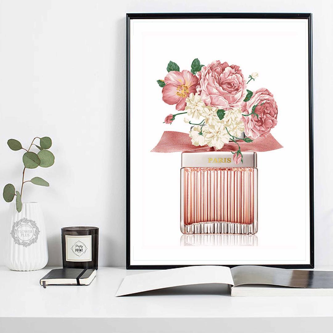 Perfume Rose Peony Flower Wall Art Canvas Painting Nordic Posters And Prints Watercolor Wall Pictures For Living Room Decor