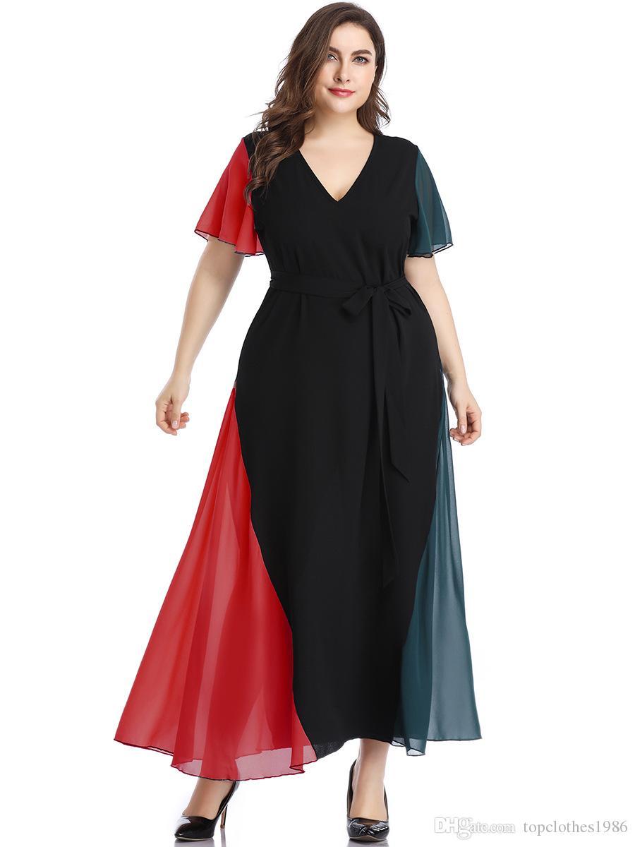 2020New Şık Bayanlar Uzun Elbise kısa kollu V-Boyun Moda şifon elbise Kadın Plus Size Giyim XL 2XL 3XL 4XL 5XL
