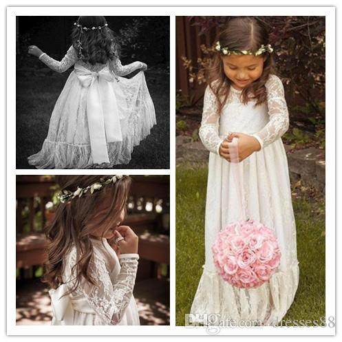2019 Cheap Long Sleeve Lace Flower Girl Dresses Jewel Ivory A line Floor Length Baby Formal Occasion Skirt First Communion Bridal Gowns Cute