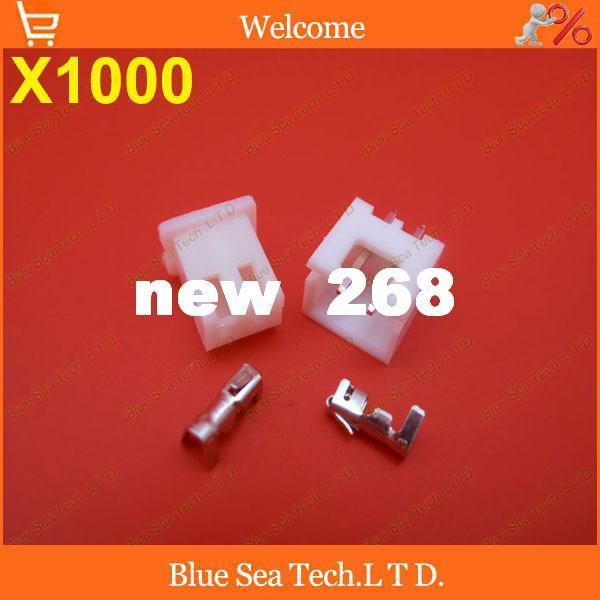 Freeshipping 1000 sets 2 Pin Connector leads Heade 2.54mm XH-2P connector Kits for PCB/Automotive/electronic circuit ect.