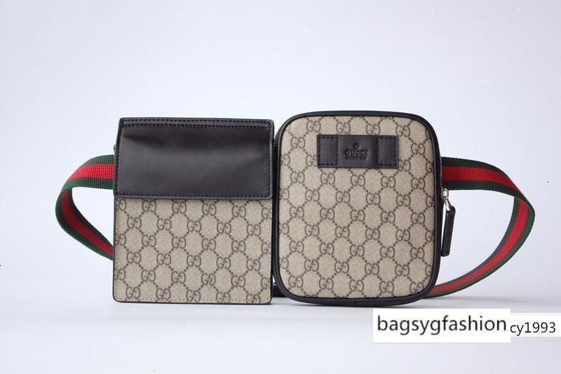 450956 En Bütün Kahverengi Harf Tuval Gerçek Deri Erkekler Kadınlar Bel Çantası Çanta Omuz Çantaları