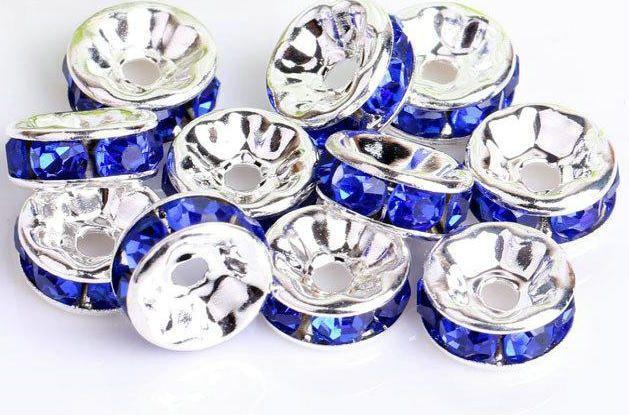 ROYAL AZUL 4SIZES RONDELLE Banhado a Prata Rhinestone cristal redondo Beads espaçadores Contas solta pérolas de cristal