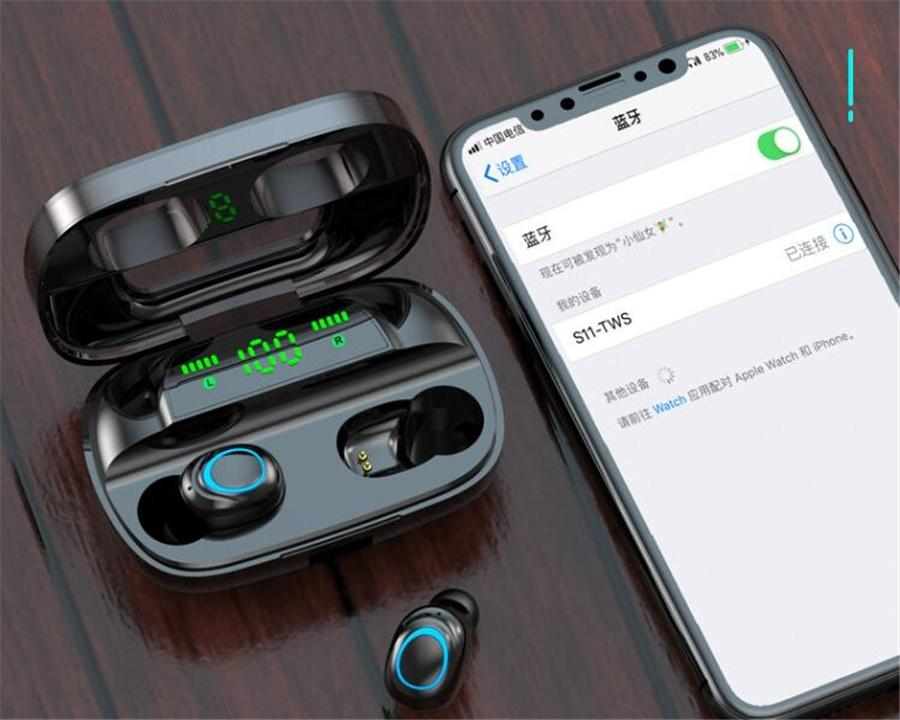 TWS Mini Bluetooth 5.0 Earphones In-ear Noise Cancelling Headset Music True Wireless Stereo Headphones Handsfree HiFi Sport Earbuds With Mic