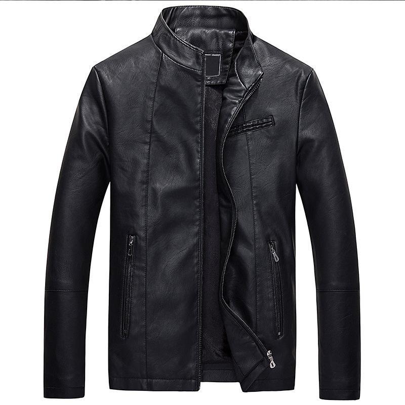 Brushed Autumn MEN'S Leather Coat Korean-style Short PU Leather Coat Fashion Man Locomotive Leather Jacket