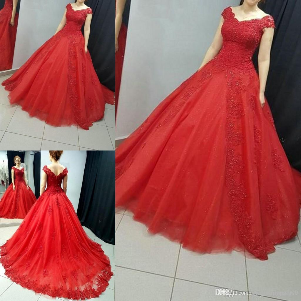 Cheap Red Lace Ball Gown Quinceanera Prom Dresses Cap maniche Appliques in rilievo Prom Dresses Formale dolce 16 abiti abiti da quinceane
