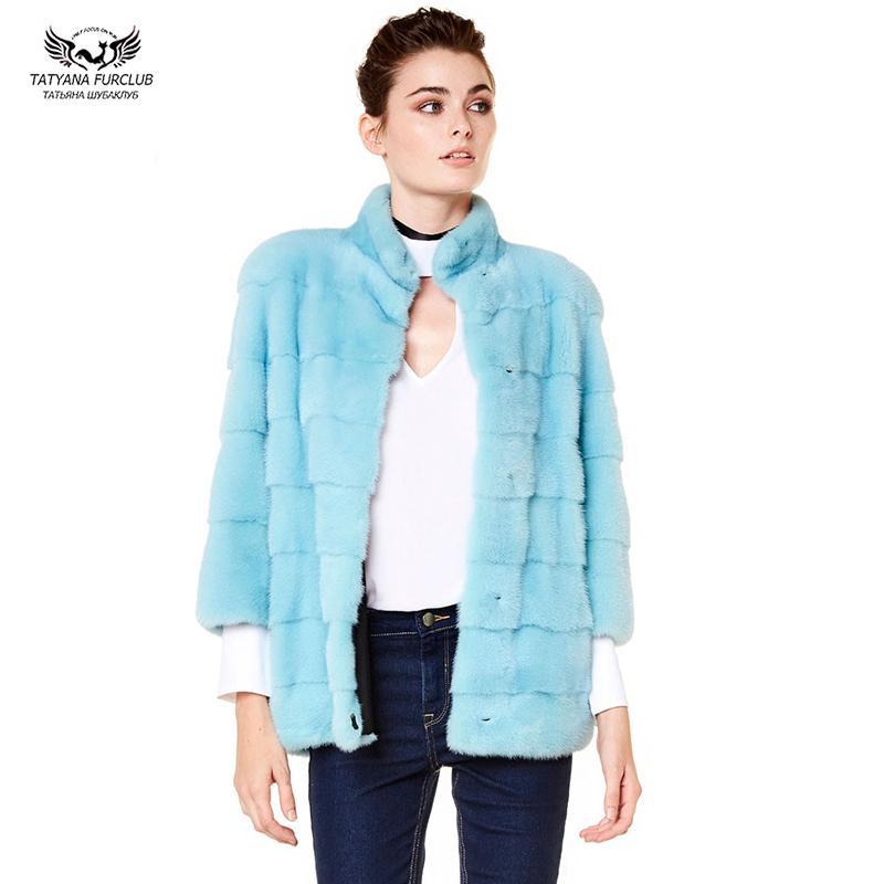2019 Мода Реальной куртки для женщин с Stand Collar Всего кож Природных пальто женщины зима теплой Outwear