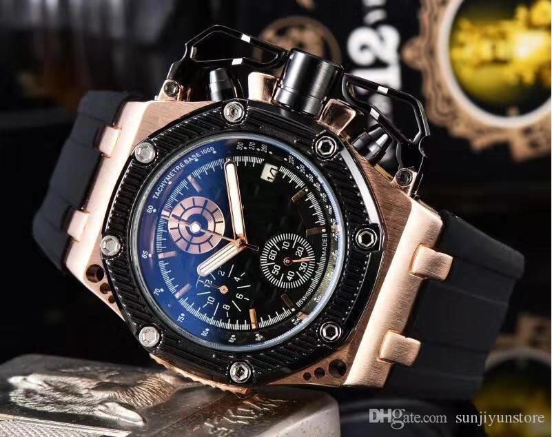 Orologi New Royal Oak Movimento di lusso della Top orologi di marca Mens Data Moda Cronografo per l'uomo analogico da polso al quarzo