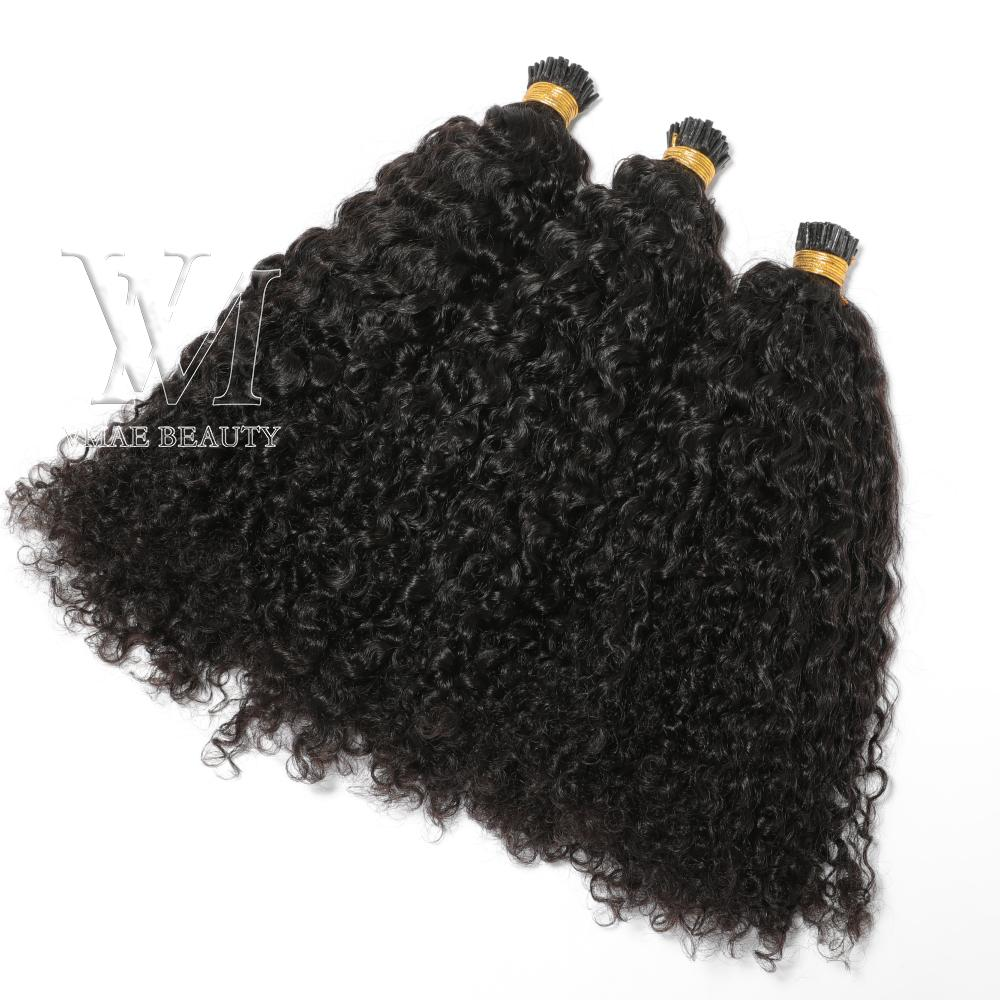 VMAE Vietnamese Single Double Drawn Natural Color 1g Strand 100g Pre Bonded Keratin Fusion Custom Kinky Curly I Tip Human Hair Extension