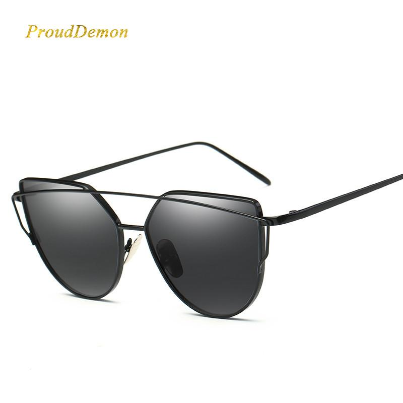 Hot Selling 2020 Luxury Cat Eye Retro Brand Designer Rose Gold Mirror High Quality Sunglasses Women Metal Reflective Flat Mirror Sunglasses