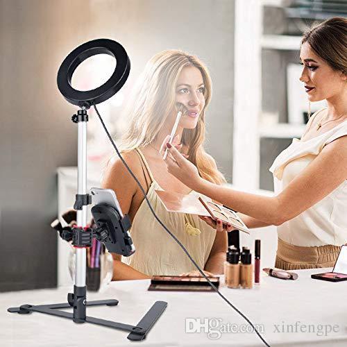 Кольцевой светильник с настольной подставкой, мини светодиодный свет камеры с держателем сотового телефона Настольная светодиодная лампа с 3 режимами освещения 11 Уровень яркости