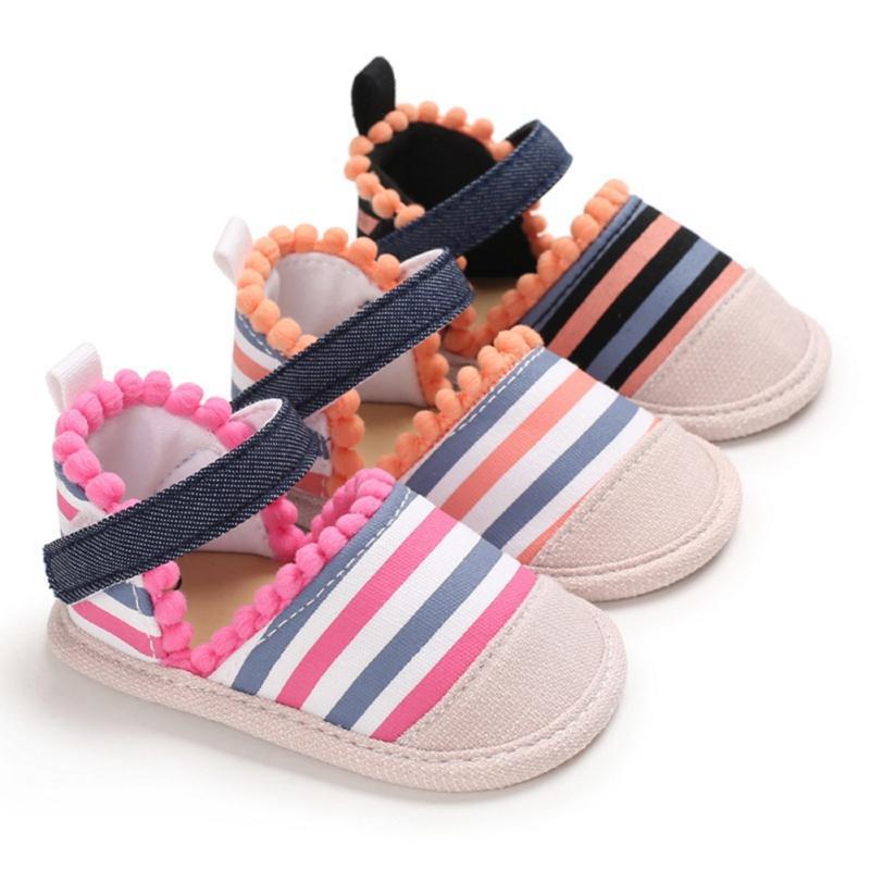 Ребенок Дети Сандал девочка Красочные Полосатый Шпаргалка обувь Summer Infant дышащий Anti-Slip ребенок Хлопок Shoes02 A005