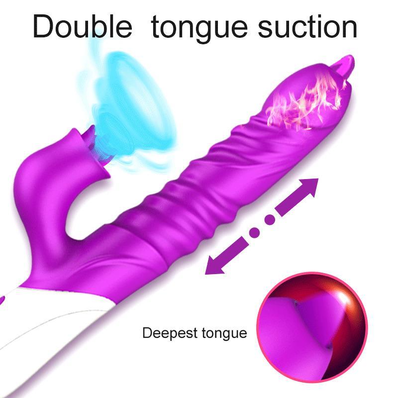 2020 Lengua Nueva Vibrador Doble Licking telescópica Encienda PUNTO G estimulador del clítoris eróticos juguetes adultos del sexo para las mujeres dentro de la vagina Y200422