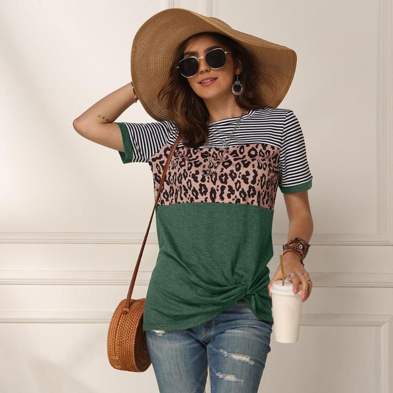 Women 2020 Summer Tee Shirt Female Leopard Stripe Print T Shirt Casual Tops Fashion Streetwear Short Sleeve Cotton T S-XXL