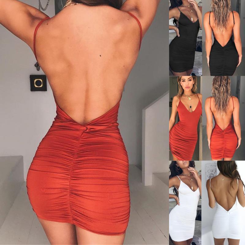 Сексуальные женские летние без спинки высокой драпированной стройной повязки bodycon вечерняя вечеринка короткое мини-платье