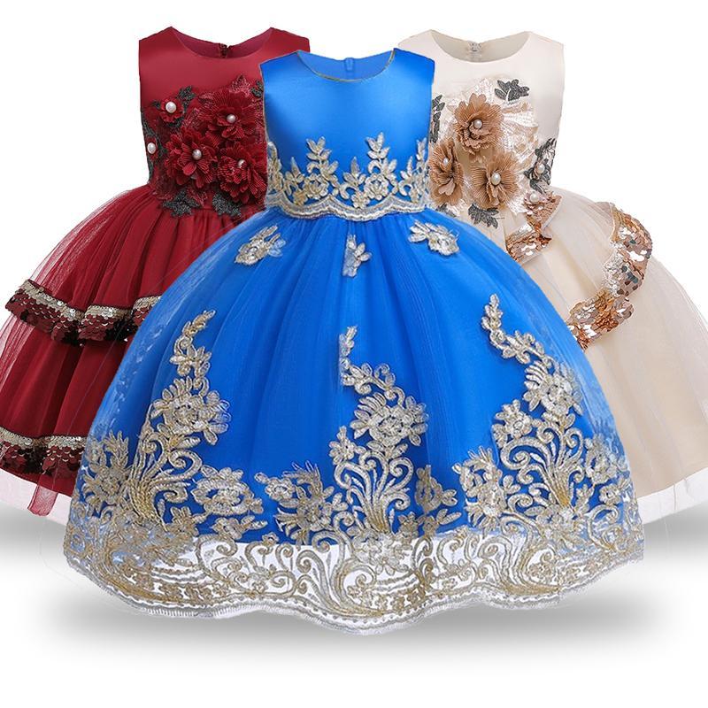 2020 crianças cerimônia partido Princesa do bebê do casamento do Natal menina vestir 2-12 y Y200102