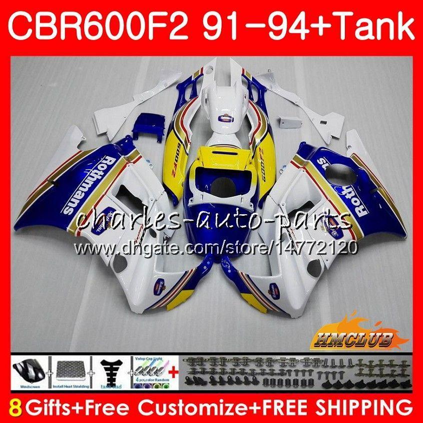 Body + Tank für HONDA CBR 600F2 Rothmans Blau CBR600FS CBR 600 FS F2 91 92 93 94 40HC.10 600cc CBR600 F2 CBR600F2 1991 1992 1993 1994 Verkleidungs