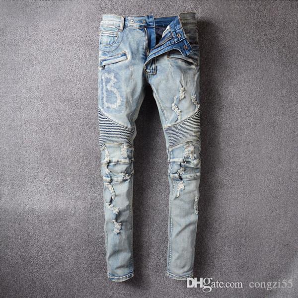 mens 2019 jeans design de luxe designer jeans Distressed Ripped Skinny Jeans déchiré Mode Hommes Denim Motorcycle mens designe